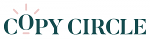 The copy circle logo in dark green and pink colours